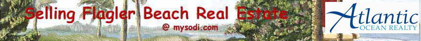 Selling Flagler Beach, Florida Real Estate banner including the Atlantic Ocean Realty logo on a background image of the Intracoastal Waterway and a yellow catamaran with a bright red sail beyond the swaying palm trees